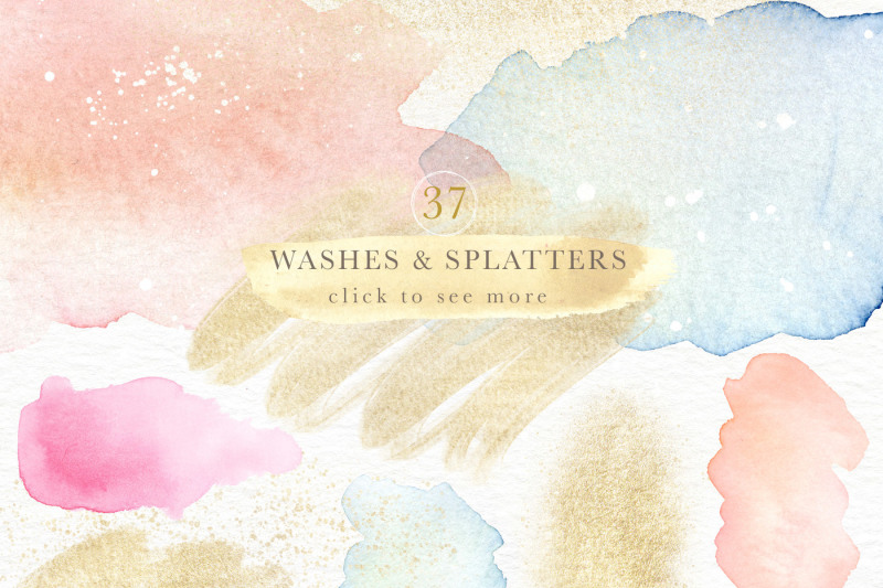 english-garden-watercolor-and-glitter-design-elements-collection
