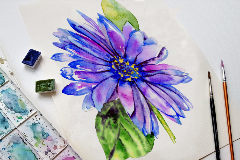 blue-gerbera-png-watercolor-flower-set