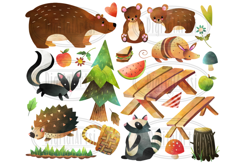 watercolor-forest-animals-picnic-clipart