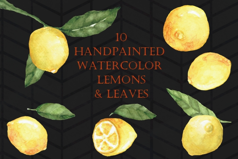 handpainted-watercolor-lemons-and-leaves