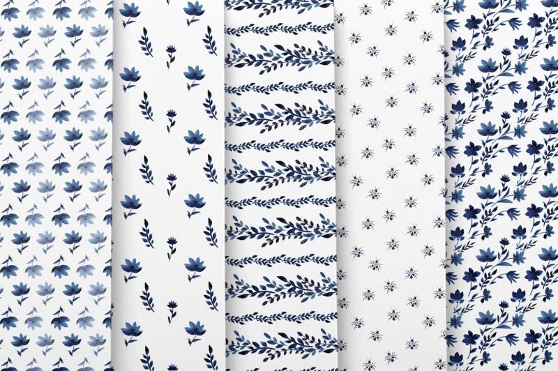 blue-watercolor-floral-patterns