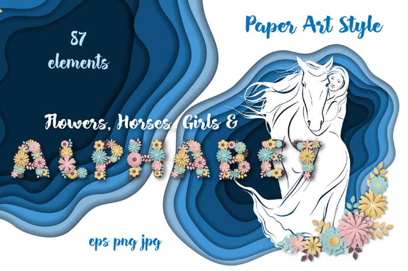 horses-flowers-and-alphabet-vector-paper-art-style