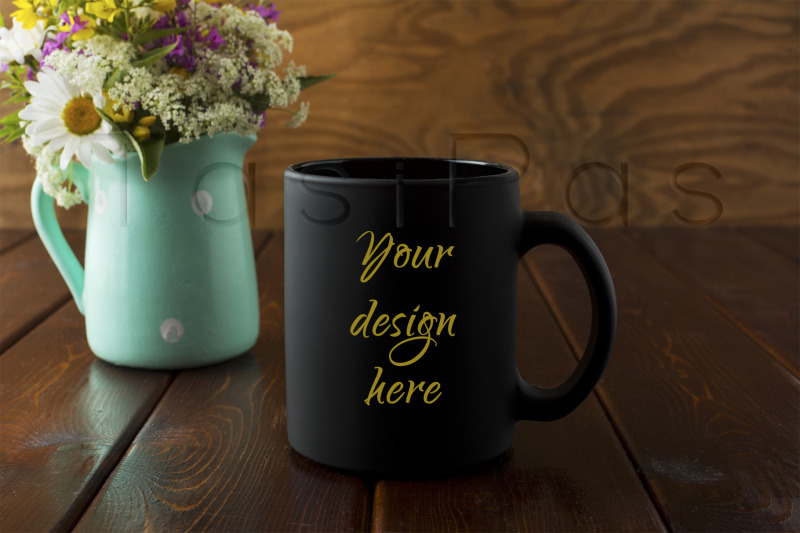 Free Black coffee mug rustic mockup with wildflowers in mint green vase (PSD Mockups)