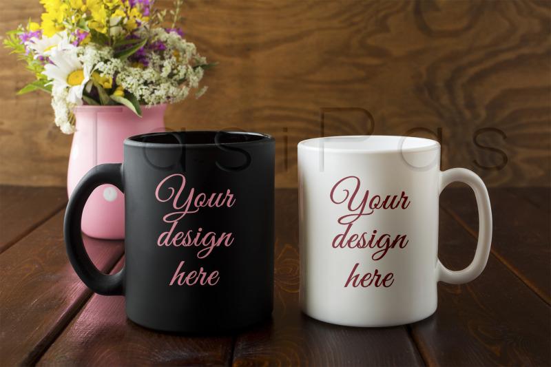 white-and-black-mug-rustic-mockup-with-wildflowers-in-pink-vase