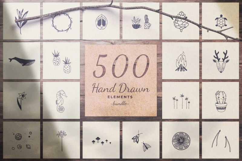 500-hand-drawn-elements-bundle