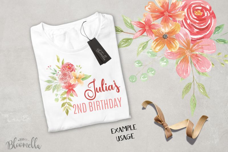 watercolor-dusk-clipart-bouquets-flowers-warm-red-summer-florals
