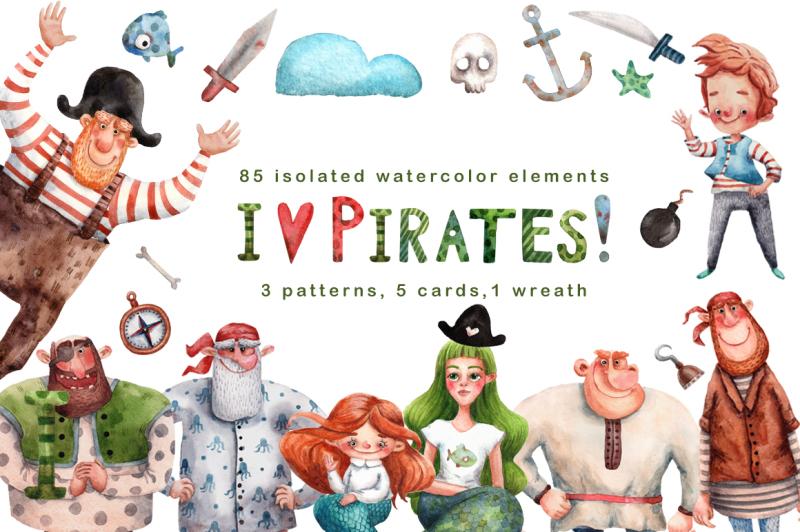 i-love-pirates-watercolor-clip-art-set