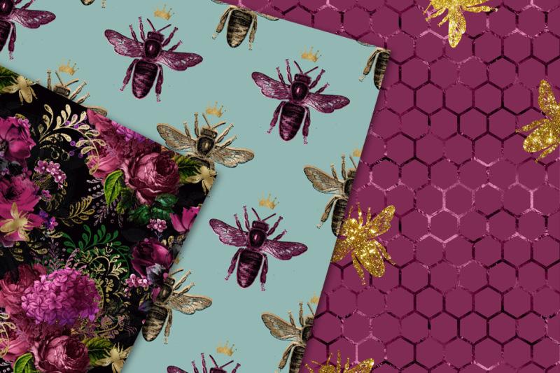 lovely-bee-seamless-digital-paper