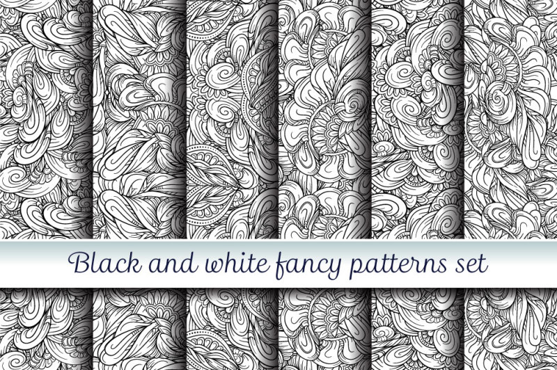 black-and-white-fancy-patterns-set