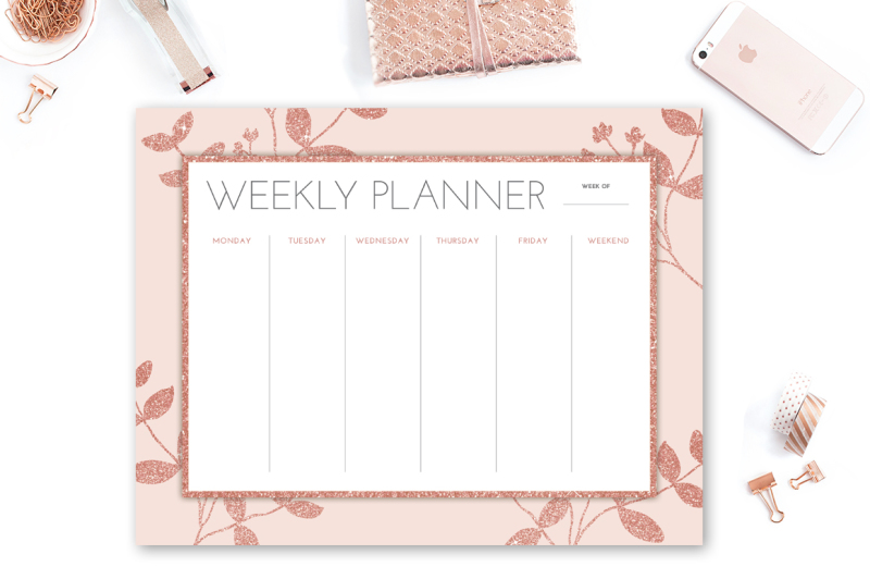 rose-gold-glitter-weekly-planner
