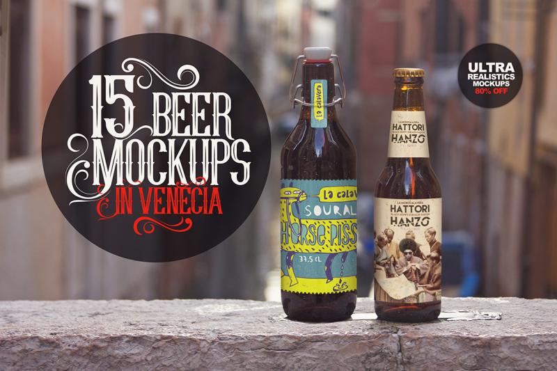 Free 15 Beer Mockups in Venecia (PSD Mockups)