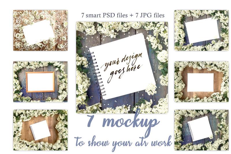Free White flowers Stock mockup set (PSD Mockups)