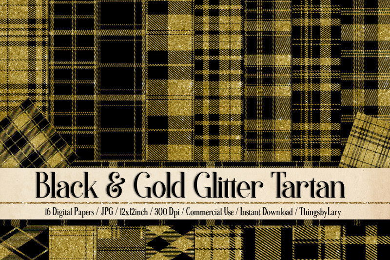16-black-and-gold-glitter-tartan-plaid-gingham-check-digital-papers