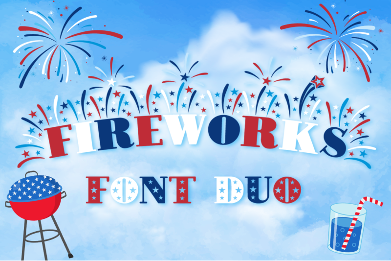 fireworks-independence-day-4th-of-july-font-family-extras