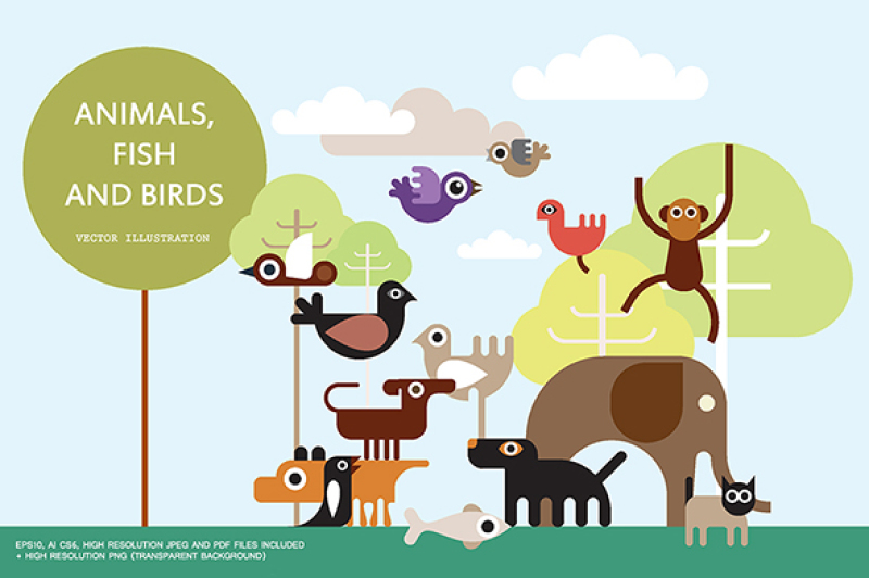 animals-fish-and-birds-vector-illustration