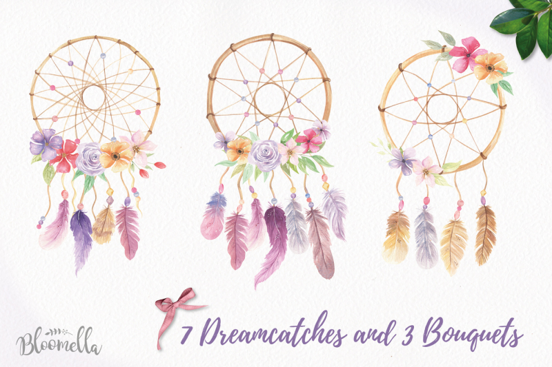 dreamcatchers-watercolour-clipart-set-feathers-boho-florals-bohemian