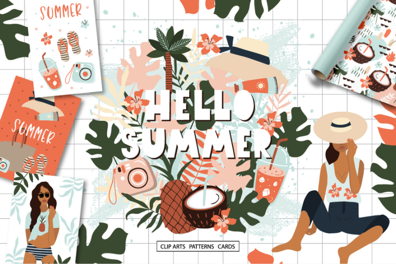 summer-in-hawaii-clipart-collection