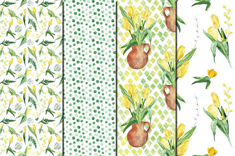 watercolor-yellow-tulips-seamless-patterns