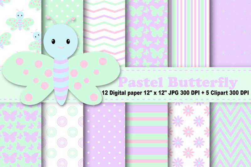 pastel-butterfly-digital-paper-spring-digital-paper-butterflies