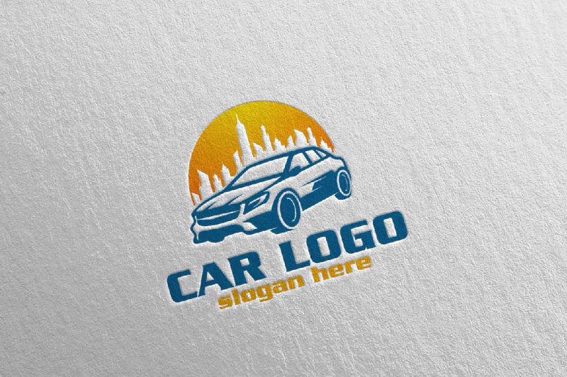 car-logo-with-sun-and-car-automotive