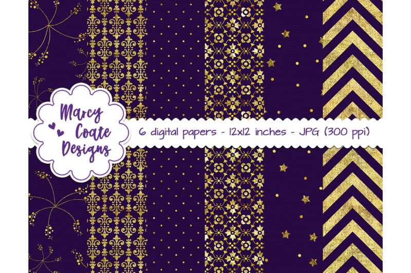 purple-and-gold-digital-papers