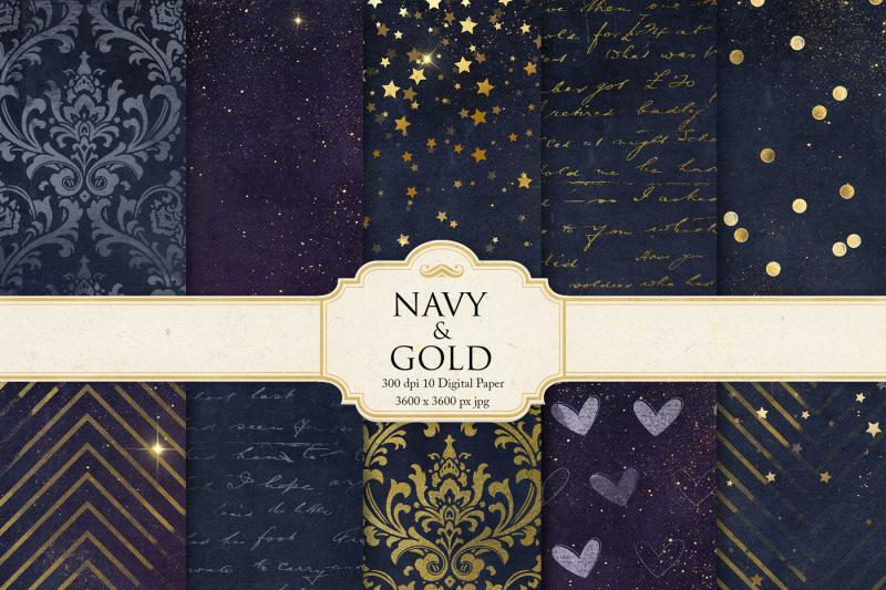 navy-gold-digital-paper
