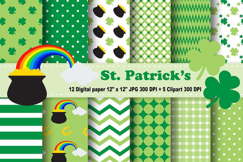st-patrick-039-s-digital-paper-leaves-background-coins-pattern