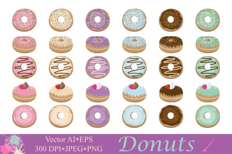 donuts-clipart-dessert-illustrations-cute-donut-vector-graphics