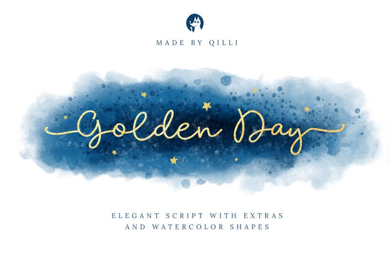 golden-day-font-with-extras-and-shapes