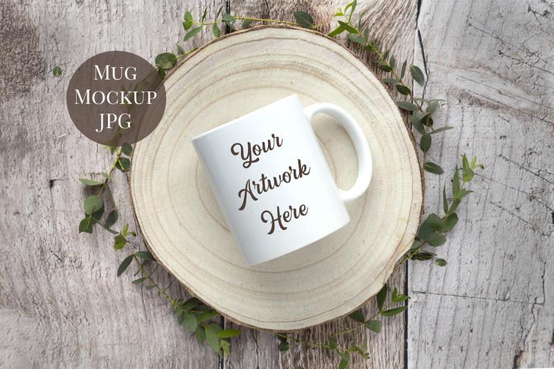 Free Mug Mockup - Rustic Wood (PSD Mockups)