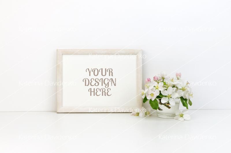 Free Horizontal real frame floral mockup, styled stock photo (PSD Mockups)