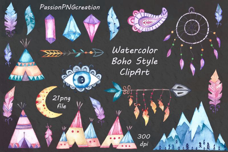 watercolor-boho-style-clipart