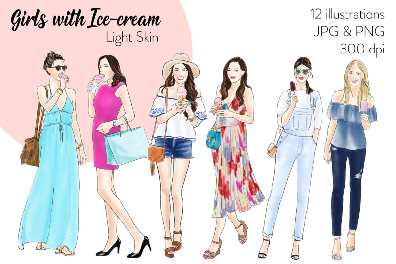watercolor-fashion-clipart-girls-with-ice-cream-light-skin