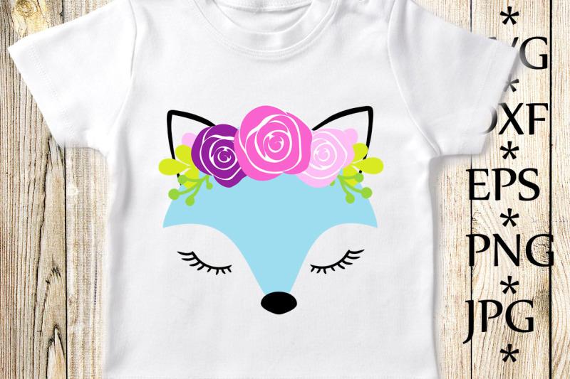 fox-with-flowers-svg-fox-svg-cute-fox-svg-fox-cut-files