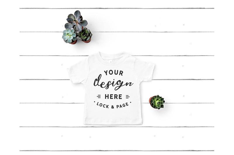 Free Toddler TShirt Mockup Bella Canvas 3001T White T-Shirt Flat Lay (PSD Mockups)