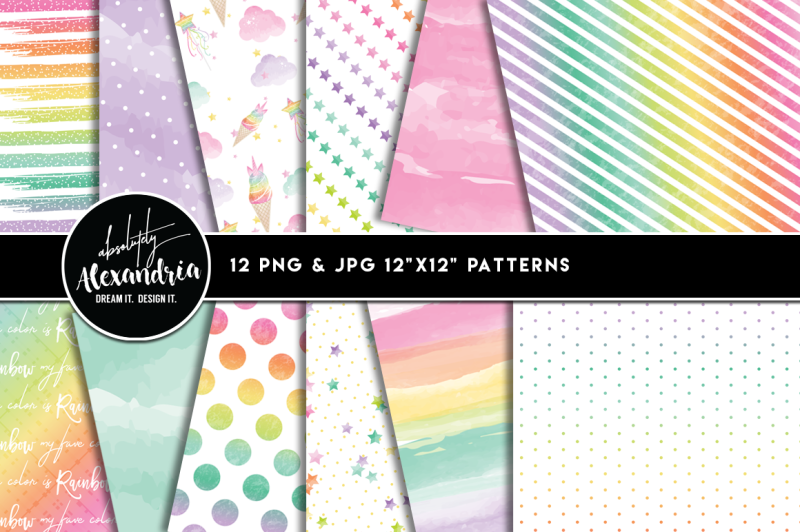 rainbow-unicorn-clipart-graphics-and-paper-patterns-bundle