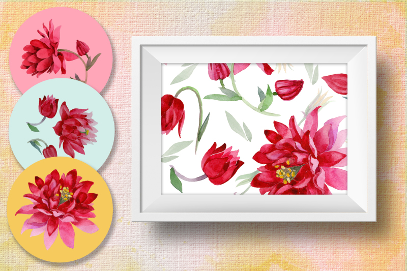 aquilegia-cool-flower-png-watercolor-set