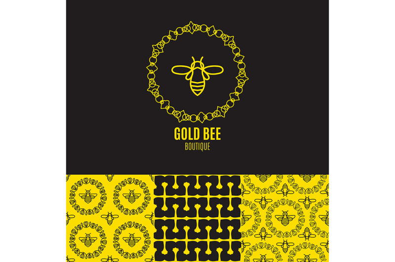 logo-with-insect-badge-bee-for-corporate-identity