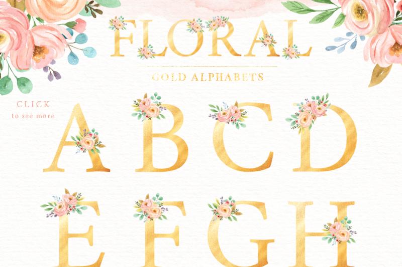 floral-gold-alphabet-watercolor-set