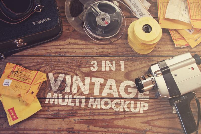 Free 3 in 1 Vintage Mockup (PSD Mockups)