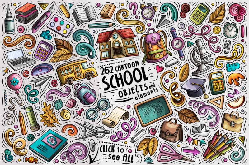 school-cartoon-objects-set
