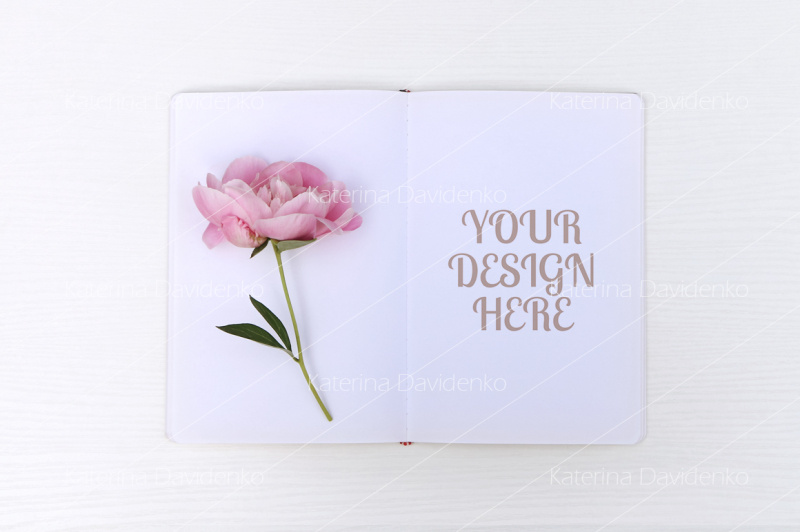 Free Sketchbook mockup with a peony, floral flatlay (PSD Mockups)
