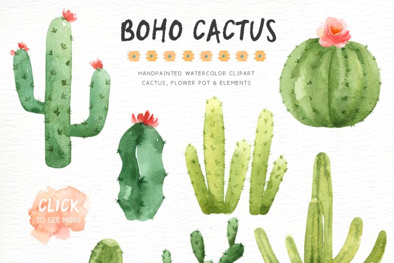 boho-cactus-watercolor-cliparts