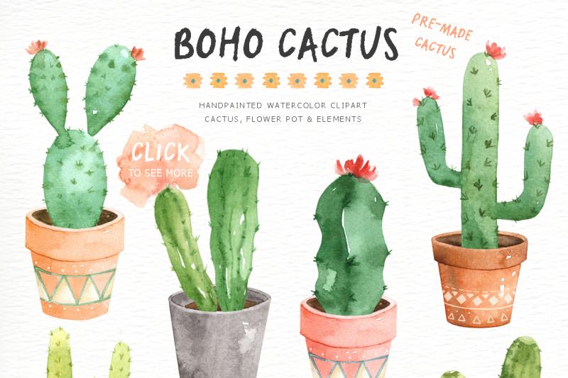 Cactus boho. Watercolor cliparts by everysunsun