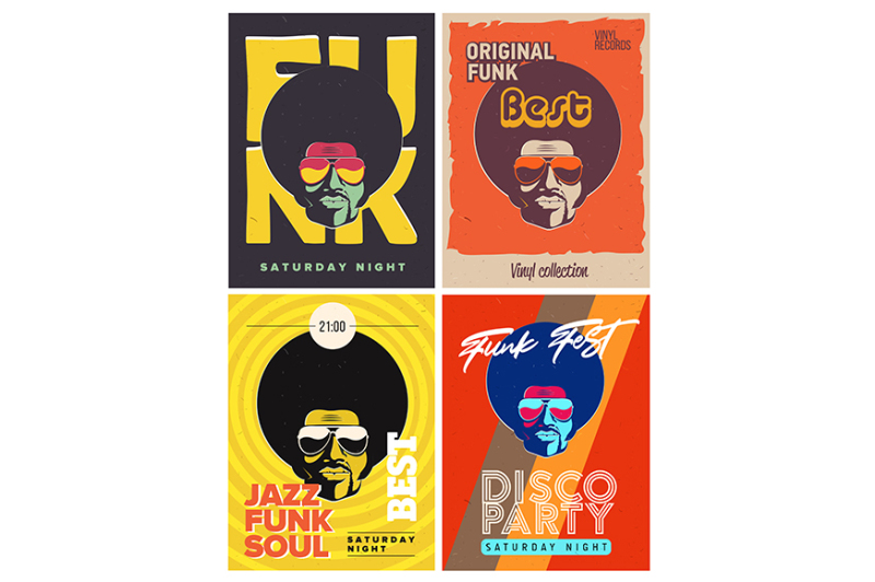disco-party-event-flyers-set-creative-vintage-posters