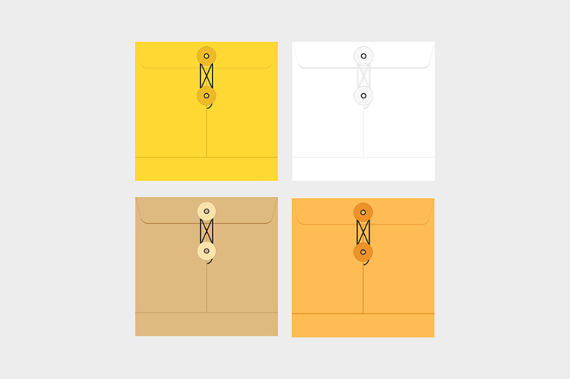 tied-sealed-letter-envelopes-brown-yellow-and-white-colors