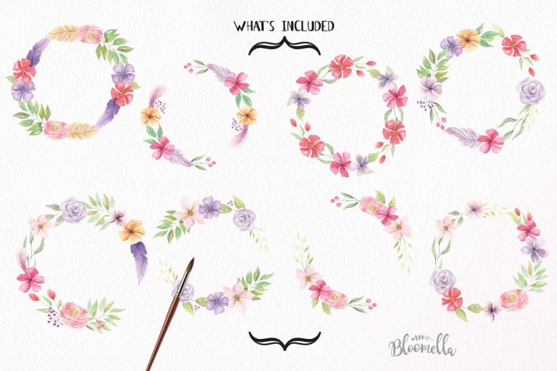 watercolor-floral-flower-wreaths-hand-painted-dreams-set-clipart
