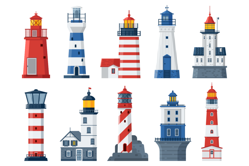 flat-lighthouses-and-sea-guide-lights