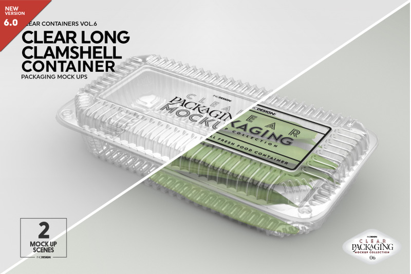 Free Long Clamshell Container Packaging Mockup (PSD Mockups)