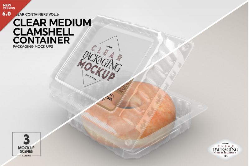 Free Clear Medium Clamshell Packaging Mockup (PSD Mockups)